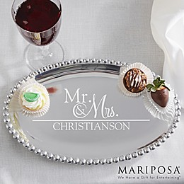 Wedded Pair Mariposa® String of Pearls Personalized Oval Serving Tray