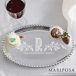 Family Name Mariposa® String of Pearls Personalized Oval Tray