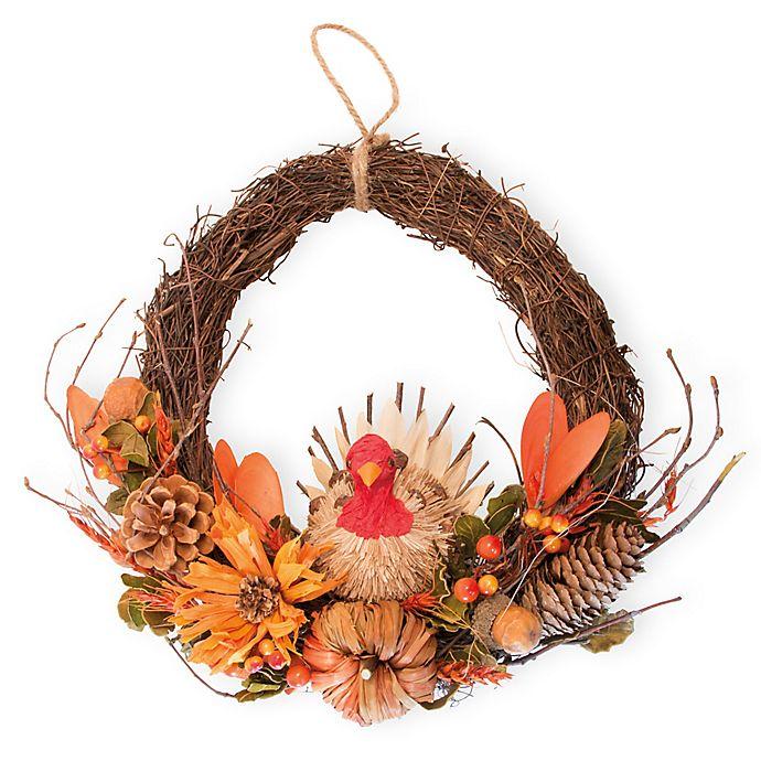 Alternate image 1 for Boston International Berry & Pumpkin Turkey Artificial Wreath