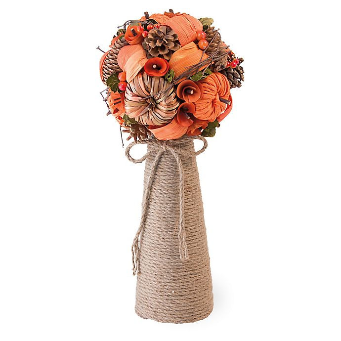 Alternate image 1 for Boston International Pumpkin & Pine Cone Artificial Bouquet with Rope Vase