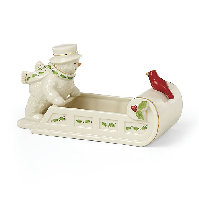 Lenox 174 Happy Holly Days Snowman With Cardinal Candy Dish