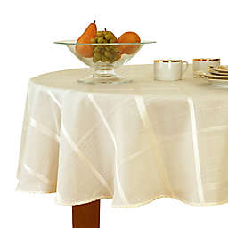 Plaid Jacquard 90-Inch Round Tablecloth in Beige