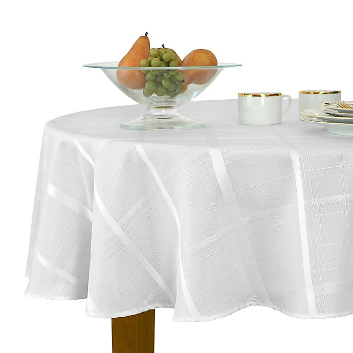 Alternate image 1 for Elegance Plaid 90-Inch Round Tablecloth in White