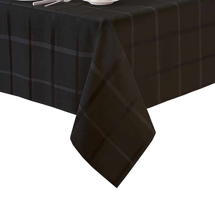 Alternate image 1 for Elegance Plaid 52-Inch Square Tablecloth in Black