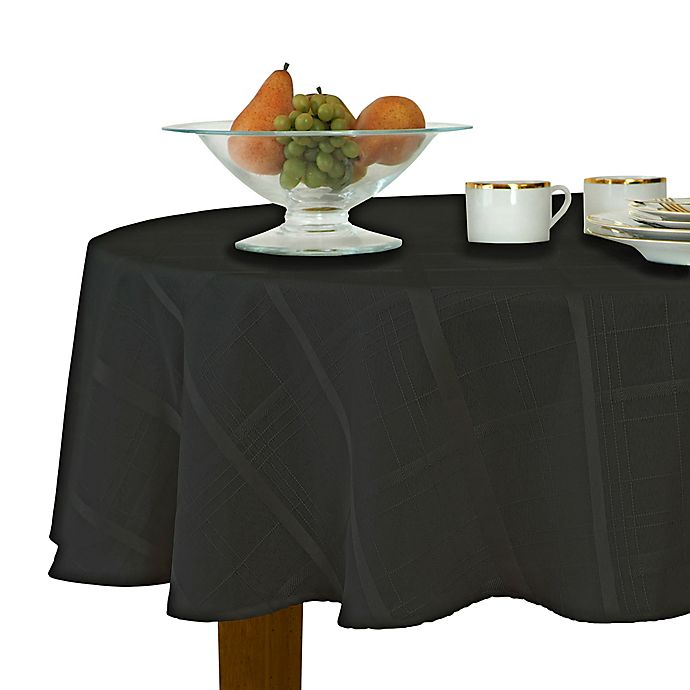 Alternate image 1 for Elegance Plaid 90-Inch Round Tablecloth in Black