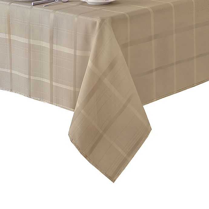 Alternate image 1 for Elegance Plaid 52-Inch Square Tablecloth in Beige