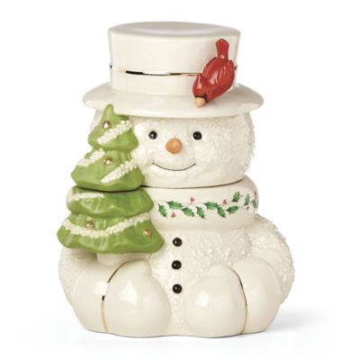 Lenox Happy Holly Days Snowman With Cardinal Cookie Jar Bed