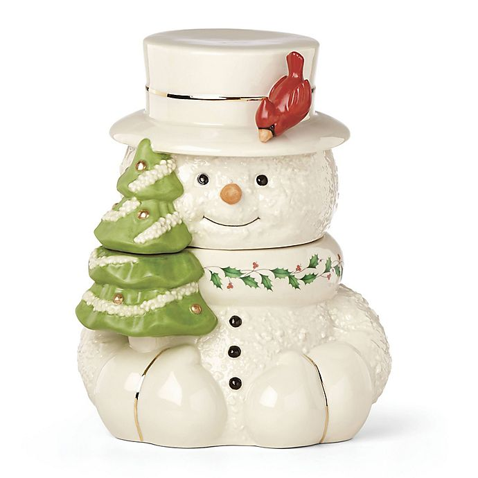 Alternate image 1 for Lenox® Happy Holly Days™ Snowman with Cardinal Cookie Jar