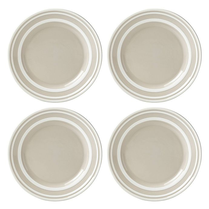 Alternate image 1 for kate spade new york All in Good Taste Sculpted Stripe™ Beige Accent Plates (Set of 4)