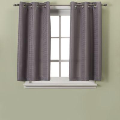 Waffle 45 Inch Bath Window Curtain, Bathroom Window Treatments Curtains