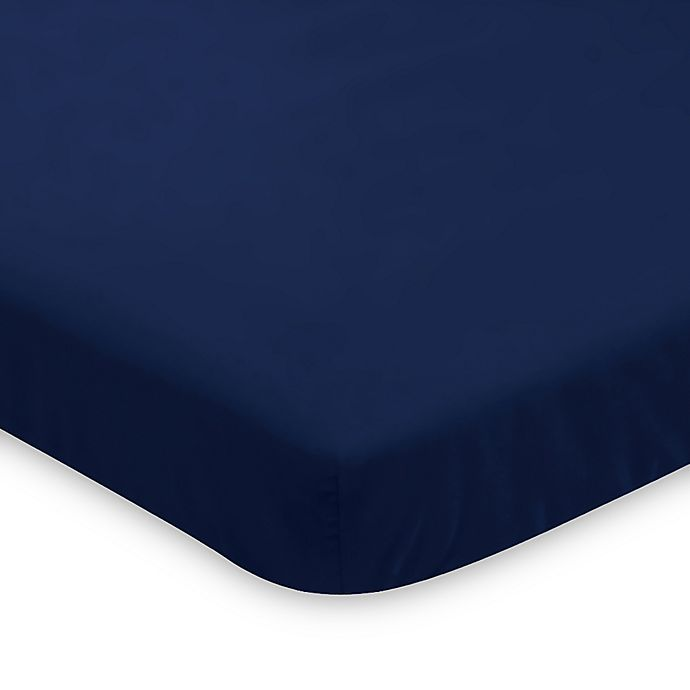 Alternate image 1 for Sweet Jojo Designs Woodsy Mini Crib Sheet in Navy