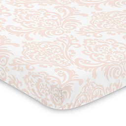 Sweet Jojo Designs Amelia Damask Mini Crib Sheet in Pink/White