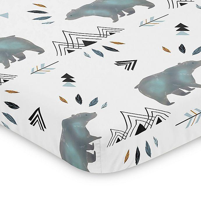 Alternate image 1 for Sweet Jojo Designs Blue and Grey Bear Mountain Mini Crib Sheet