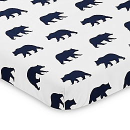 Sweet Jojo Designs Navy and White Big Bear Mini Crib Sheet