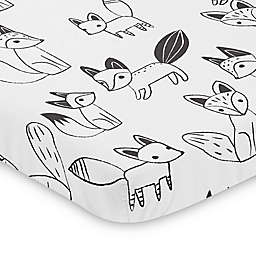 Sweet Jojo Designs® Black and White Fox Mini Crib Sheet