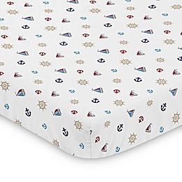 Sweet Jojo Designs Red White and Blue Nautical Nights Mini Crib Sheet