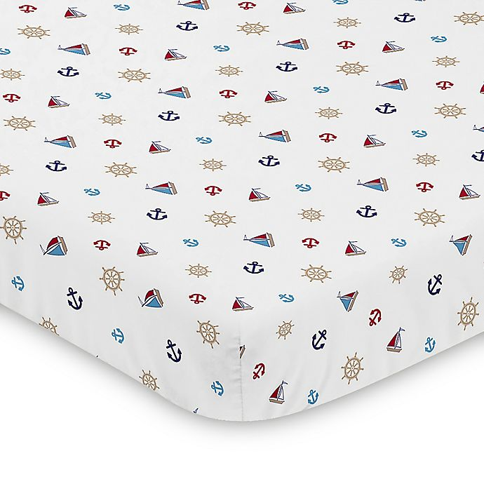 Alternate image 1 for Sweet Jojo Designs Red White and Blue Nautical Nights Mini Crib Sheet