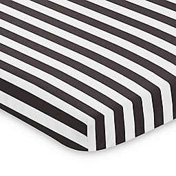 Sweet Jojo Designs Black and White Stripe Paris Designs Mini Crib Sheet