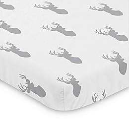Sweet Jojo Designs® Grey and White Woodland Deer Mini Crib Sheet