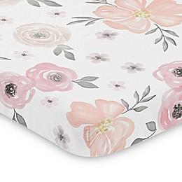 Sweet Jojo Designs® Watercolor Floral Mini Crib Sheet in Pink/Grey