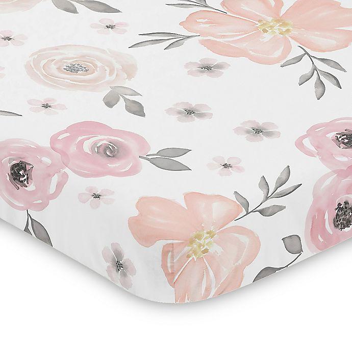 Alternate image 1 for Sweet Jojo Designs® Watercolor Floral Mini Crib Sheet in Pink/Grey