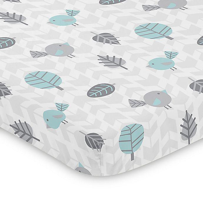 Alternate image 1 for Sweet Jojo Designs Blue and Grey Earth and Sky Mini Crib Sheet