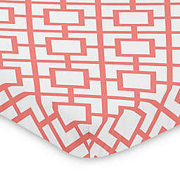 Sweet Jojo Designs Coral and White Mod Diamond Mini Crib Sheet
