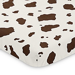 Sweet Jojo Designs Wild West Brown Cow Print Mini Crib Sheet