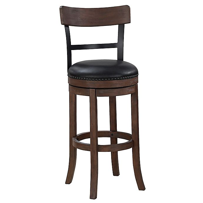 Alternate image 1 for American Woodcrafters Taranto Leather Bar Stool in Brown