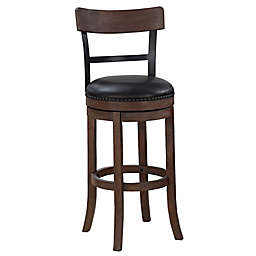 American Woodcrafters Taranto 34-Inch Leather Bar Stool in Brown