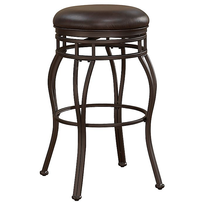 Alternate image 1 for American Woodcrafters Stella Leather Bar Stool in Walnut