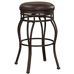 American Woodcrafters Stella Leather Bar Stool in Walnut