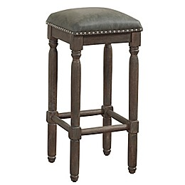 American Woodcrafters Bronson Leather Bar Stool in Grey