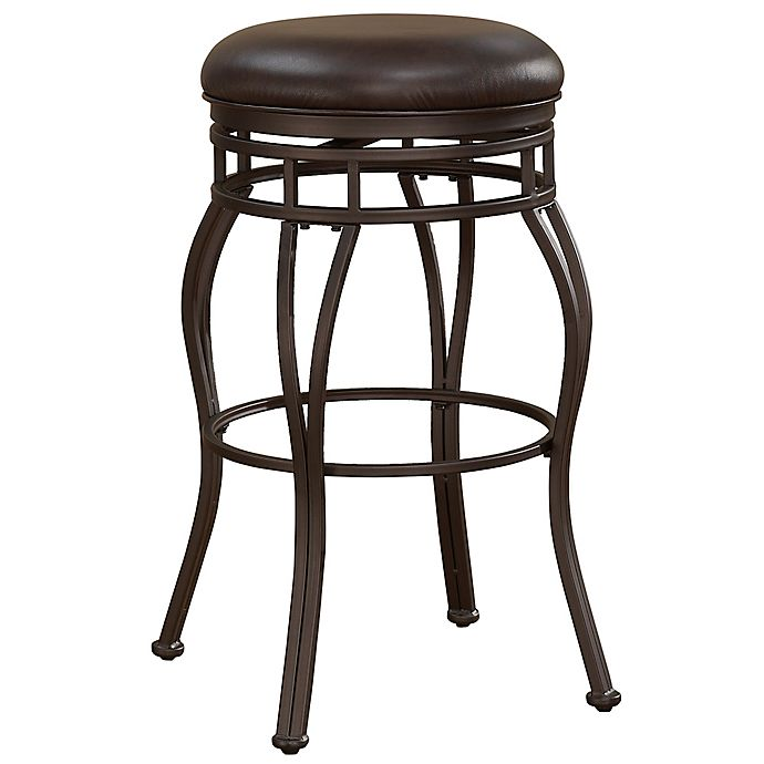 Alternate image 1 for American Woodcrafters Leather Swivel Villa Bar Stool