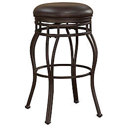 American Woodcrafters Leather Swivel Villa Bar Stool