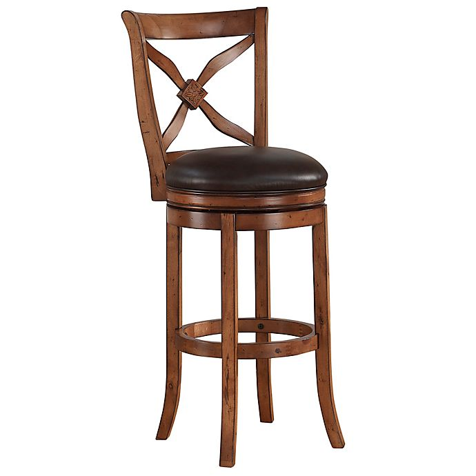 Alternate image 1 for American Woodcrafters Leather Provence Bar Stool