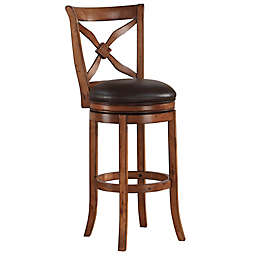 "American Woodcrafters Leather Upholstered Provence 34"" Bar Stool in Oak"
