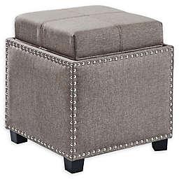 Armen Living® Linen Upholstered Blaze Ottoman