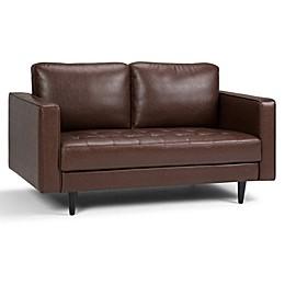 Simpli Home Upholstered Solid Back Loveseat