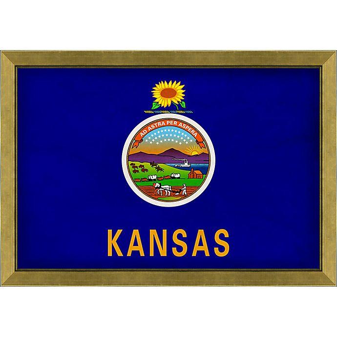 Alternate image 1 for Kansas Textured State Flag 34-Inch x 24-Inch Framed Wall Art
