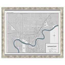 Edmonton Map 34-Inch x 28-Inch Framed Wall Art