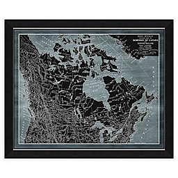 Denim Canada Map 34-Inch x 28-Inch Framed Wall Art