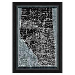 Denim Alberta Map 34-Inch x 28-Inch Framed Wall Art