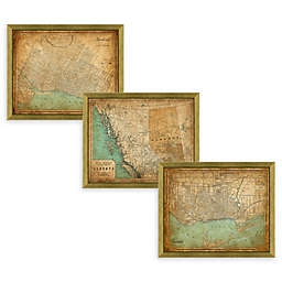 Canada Heritage Framed Map Wall Art in Gold