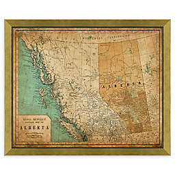 Alberta Heritage Map 34-Inch x 28-Inch Framed Wall Art in Gold