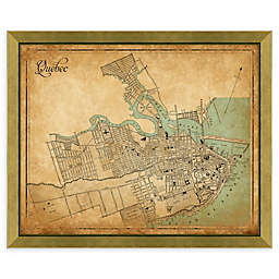 Quebec Heritage Map 34-Inch x 28-Inch Framed Wall Art in Gold