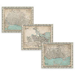 Canada Heritage Framed Map Wall Art in Silver
