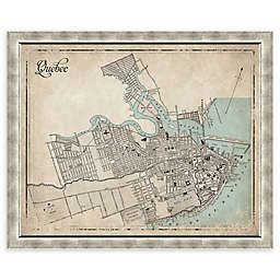 Quebec Heritage Map 34-Inch x 28-Inch Framed Wall Art in Silver