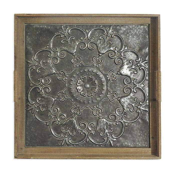 Alternate image 1 for Bee & Willow™ Home Embossed Flower 26-Inch Square Stamped Metal Tray Wall Art
