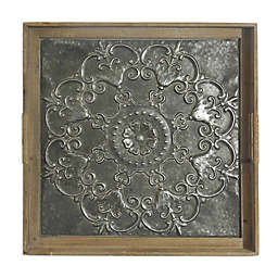 Bee WillowTM Home Embossed Flower 26 Inch Square Stamped Metal Tray Wall Art